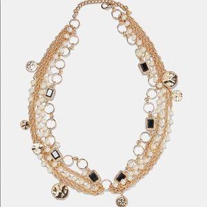 Zara multi chain golden belt with pearls